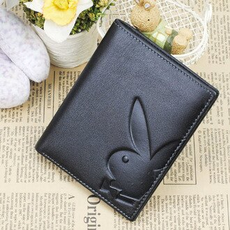 【橘子包舖】PLAYBOY平紋真皮短夾錢包 [A11-061] 直式 4卡位|男皮夾|黑色