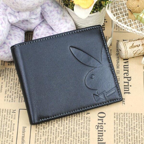 預購|PLAYBOY 平紋牛皮革短夾錢包 [A11-062] |男皮夾|黑色|橘子包舖