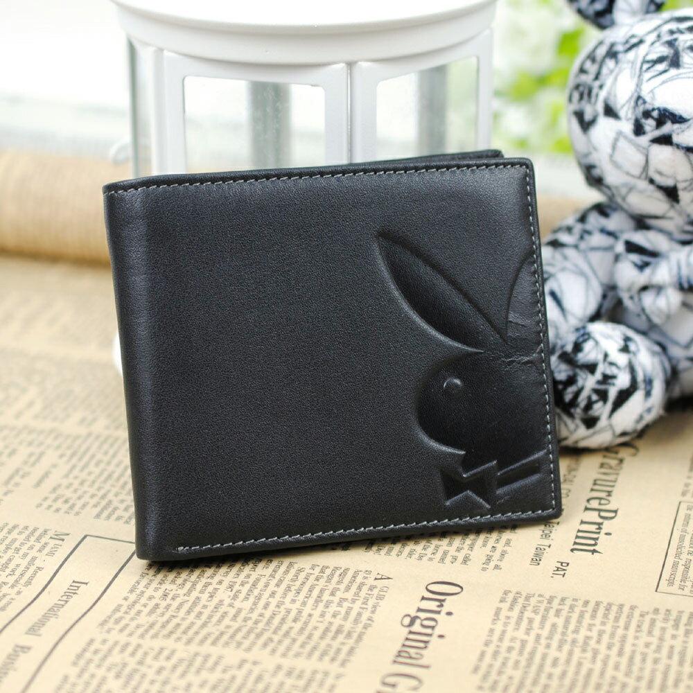 預購|PLAYBOY 平紋牛皮革短夾錢包 [A11-064] 6卡位|男皮夾|黑色|橘子包舖