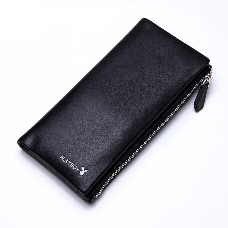 現貨 PLAYBOY 真皮拉鏈長夾錢包 [A11-080B] 手機包 黑色 橘子包舖