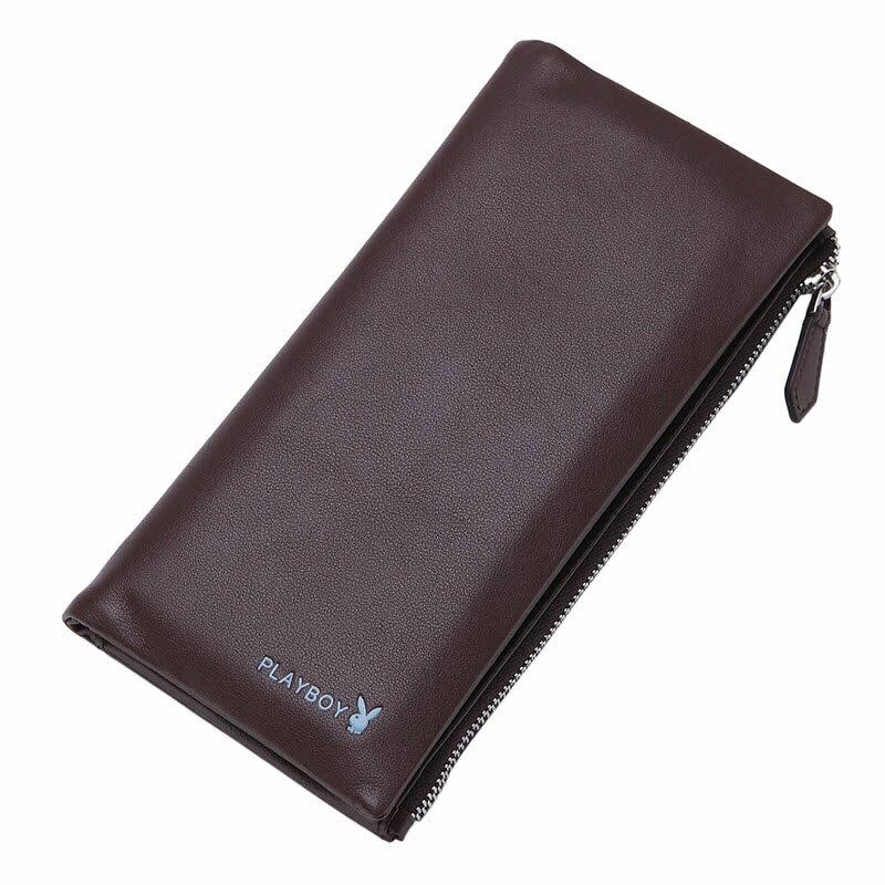 現貨 PLAYBOY 真皮拉鏈長夾錢包 [A11-080C] 手機包 咖啡色 橘子包舖