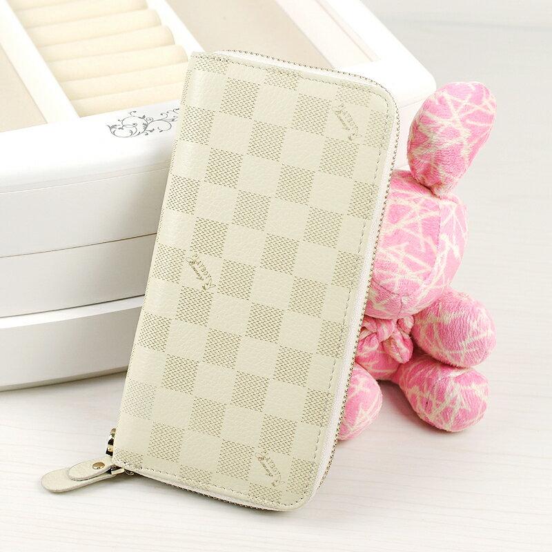 【橘子包舖】PLAYBOY 經典格紋真皮長夾錢包 [A13-004W] 手拿包|女皮夾|白色