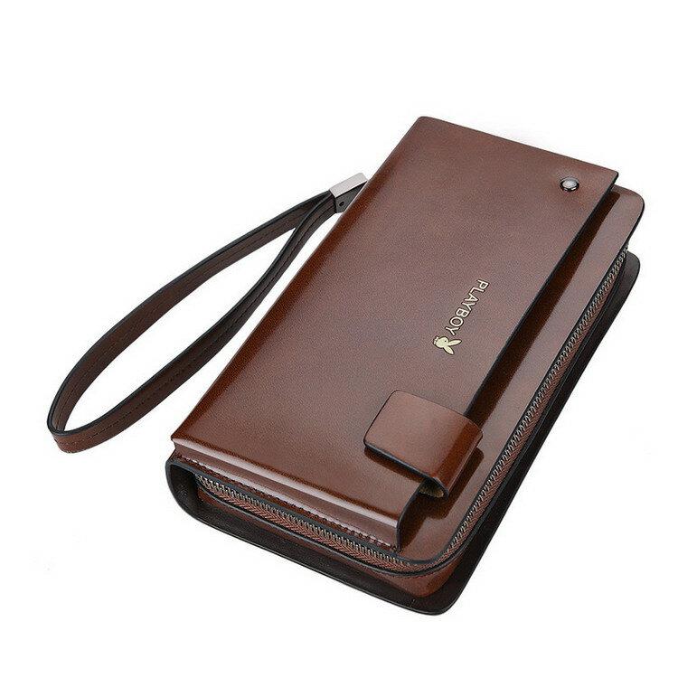 PLAYBOY 亮漆真皮大容量錢包 [A13-007C]|男手拿包|咖啡色|橘子包舖