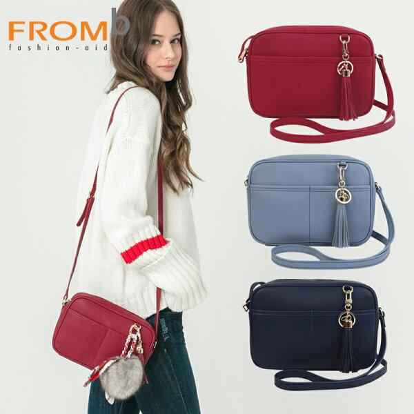 【橘子包舖】女側背包韓國正貨FROMb真皮流穌單肩包[B0381]三色