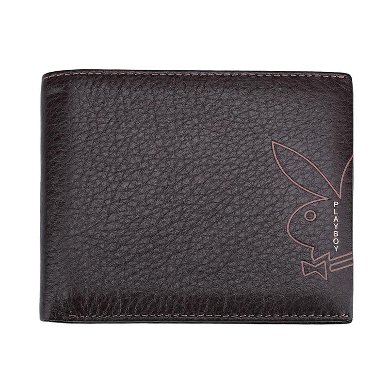 現貨|PLAYBOY 荔枝紋真皮短夾錢包 [A11-019]|男皮夾|咖啡色|橘子包舖