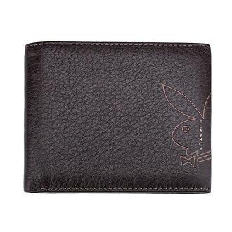 【橘子包舖】男皮夾 PLAYBOY 荔枝紋真皮短夾錢包 [A11-019] 咖啡色