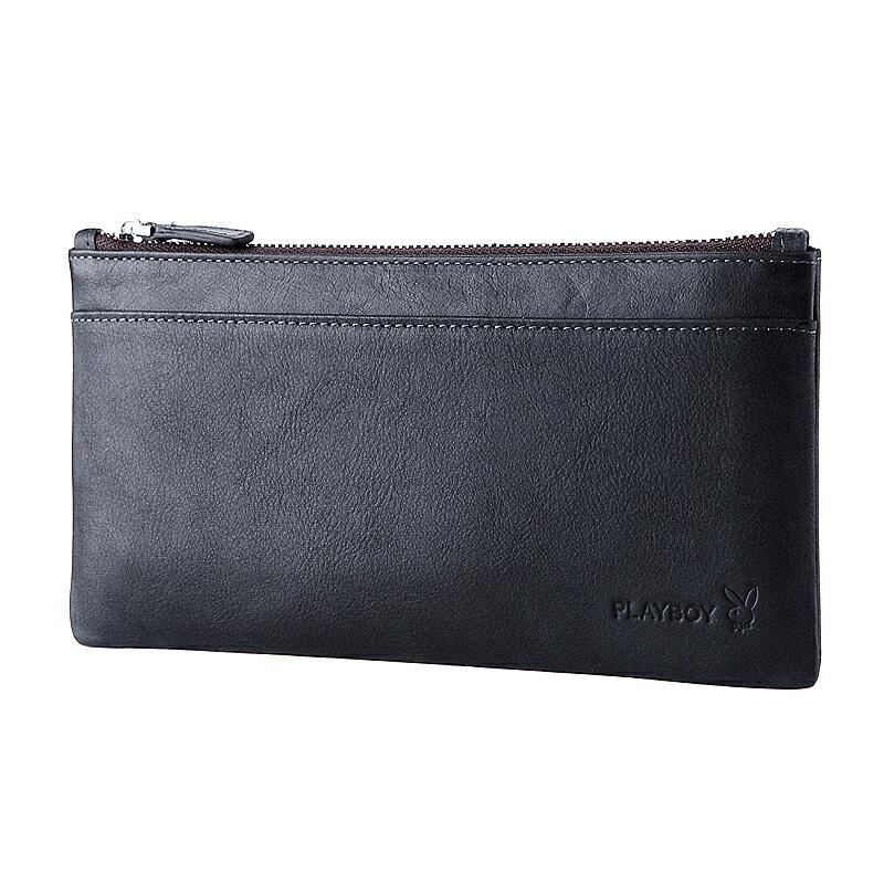 預購|PLAYBOY 男士超薄真皮錢包 [A13-006B]  手機包 |男皮夾|黑色|橘子包舖