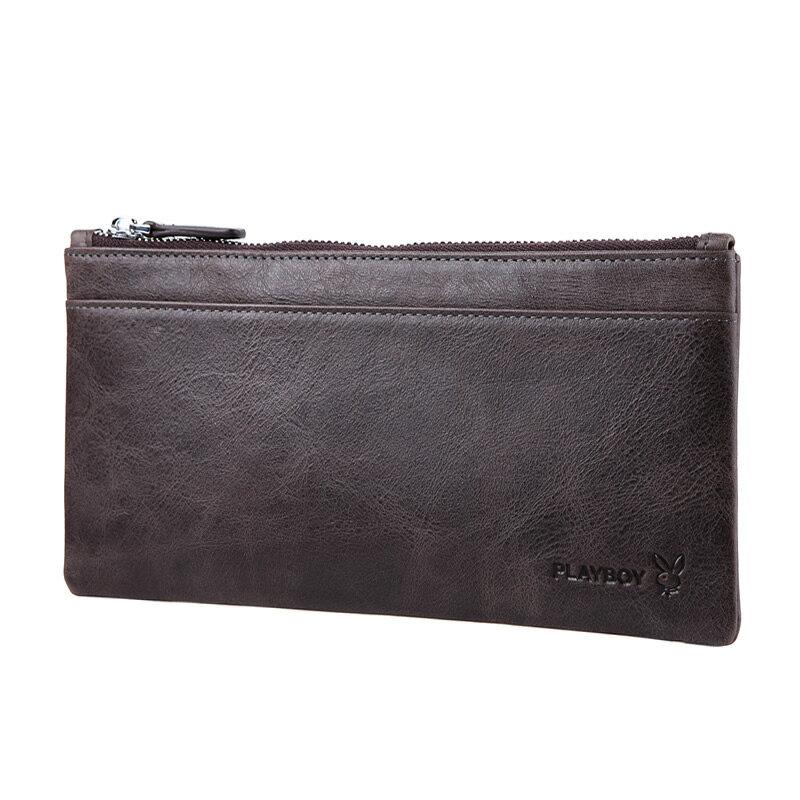 PLAYBOY 男士超薄真皮錢包 [A13-006C] 咖啡色手機包