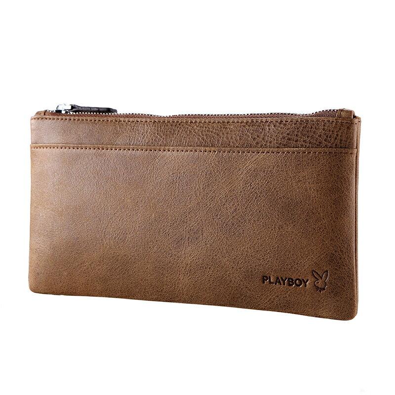 PLAYBOY 男士超薄真皮錢包 [A13-006K] 卡其色手機包