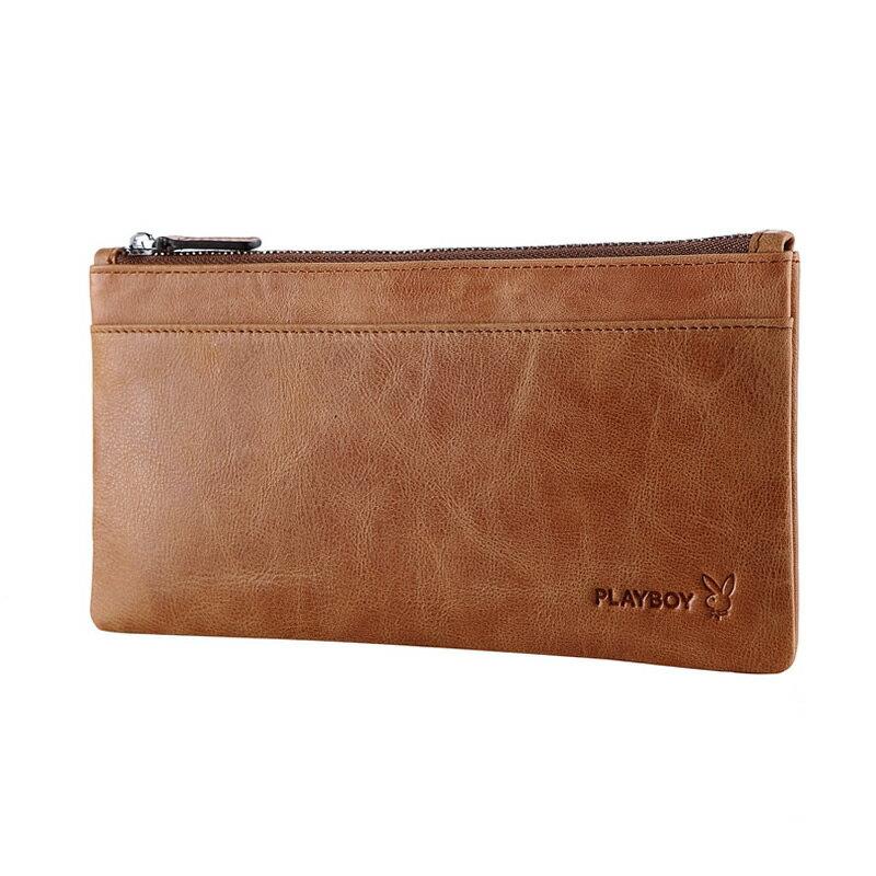 PLAYBOY 男士超薄真皮錢包 [A13-006Y] 手機包|手拿包|土黃色 |橘子包舖