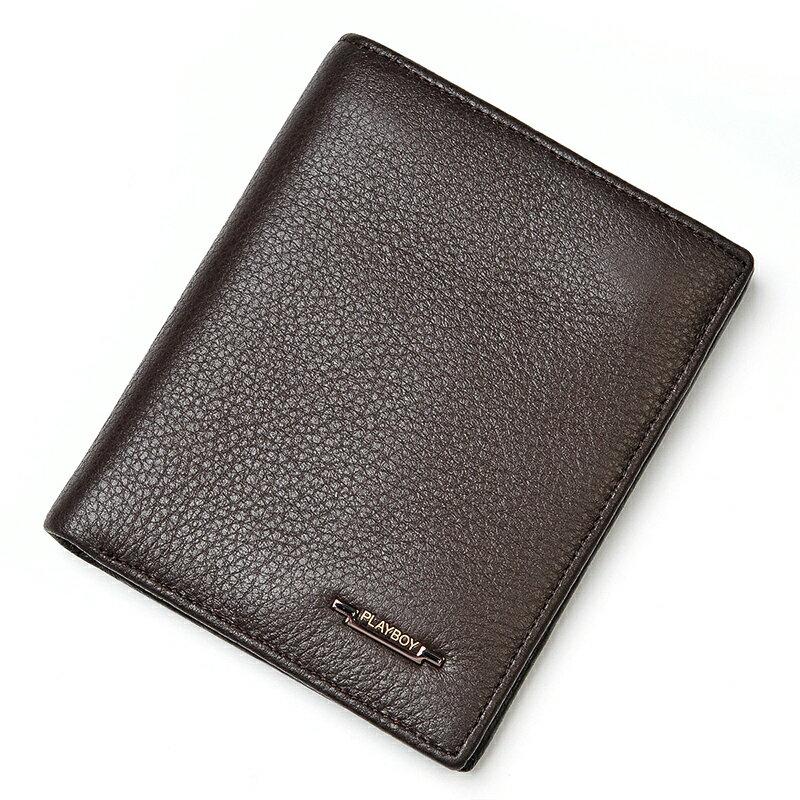 【橘子包舖】皮夾 PLAYBOY.男頭層牛皮長夾.超軟皮夾.錢包.豎款 [A11-015]