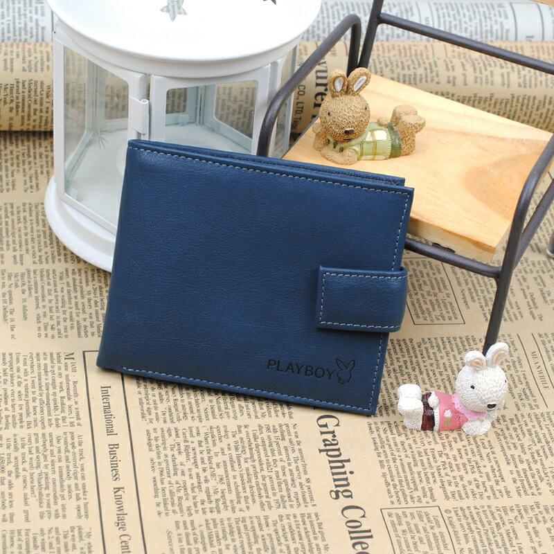 預購|PLAYBOY 真皮三折短夾錢包 [A11-073] 多卡位|男皮夾|藍色|橘子包舖