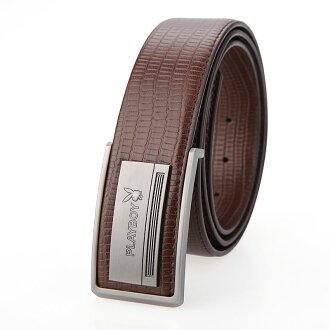 預購|PLAYBOY 真皮板扣皮帶 [A14-033]|男腰帶|咖啡色|橘子包舖