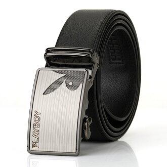現貨|PLAYBOY 真皮自動扣皮帶 [A14-036] |男腰帶|黑色|橘子包舖
