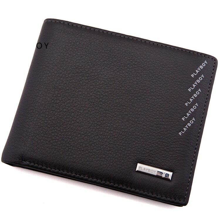 PLAYBOY 荔枝紋真皮短夾錢包 [A11-010]|男皮夾|咖啡色|橘子包舖