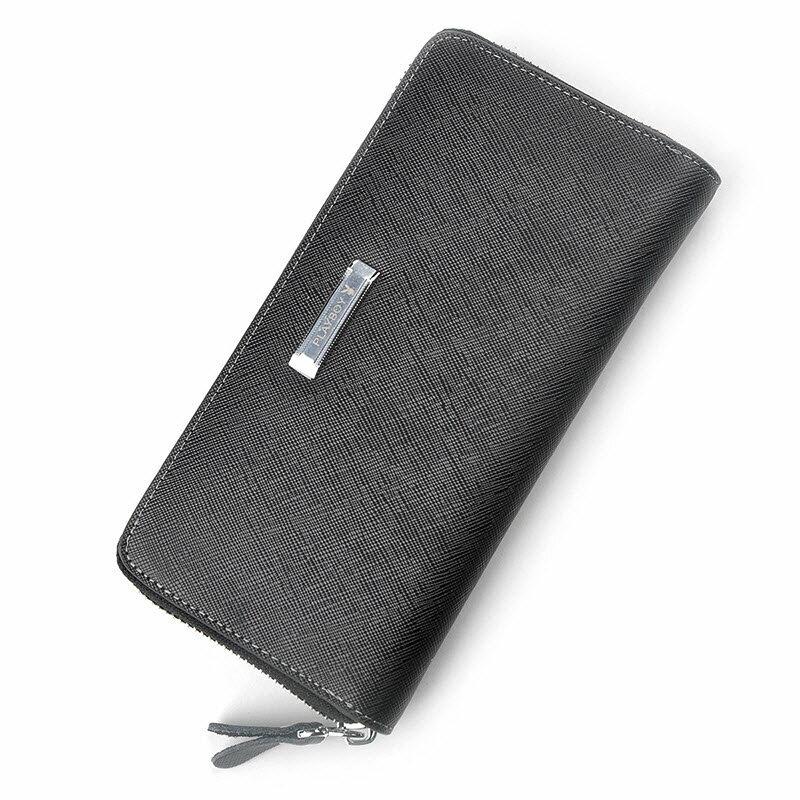 現貨|PLAYBOY 十字紋真皮拉鏈長夾錢包 [A13-001] 手拿包|男長夾|二色|橘子包舖