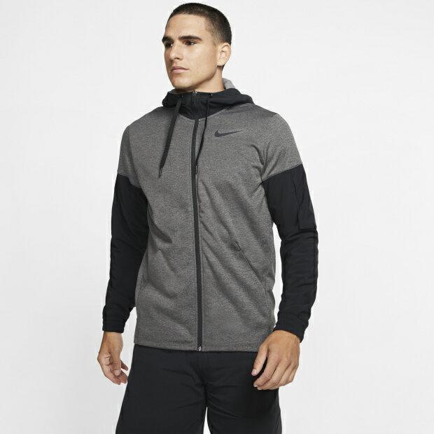 Nike THERMA Dri-FIT 男裝 連帽外套 全拉鍊 速乾 刷毛 拼接 灰黑【運動世界】BV6310-071