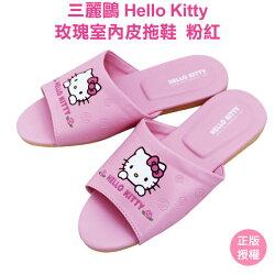 童鞋 HELLO KITTY 室內拖鞋 凱蒂貓 正版授權台灣製造止滑皮拖鞋 靜音居家鞋 兒童拖鞋(粉紅/桃紅)