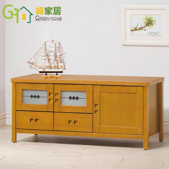 【綠家居】胡納 檜木紋4尺實木收納櫃/電視櫃(二抽屜+三門櫃設計)