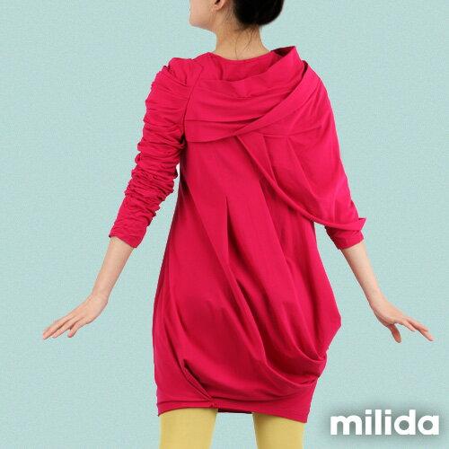 【Milida,全店七折免運】-秋冬單品-洋裝款-立體肩袖造型剪裁 3