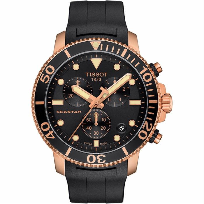 TISSOT 天梭表 T1204173705100 海洋之星潛水300米計時腕錶  /  黑x玫瑰金 45.5mm - 限時優惠好康折扣