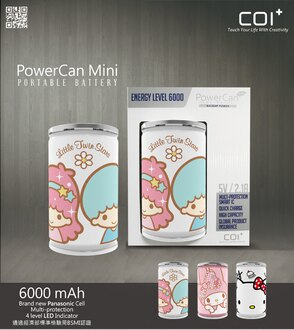 COI+ PowerCan 易開罐行動電源 6000mAh Mini Little Twin Stars(4710901857479)、Mini My Melody(4710901857448)、Mi..