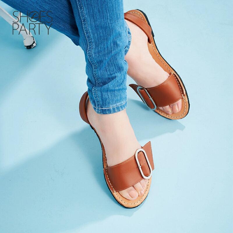【S2-17625L】西班牙風橢圓釦皮底涼鞋_Shoes Party 2