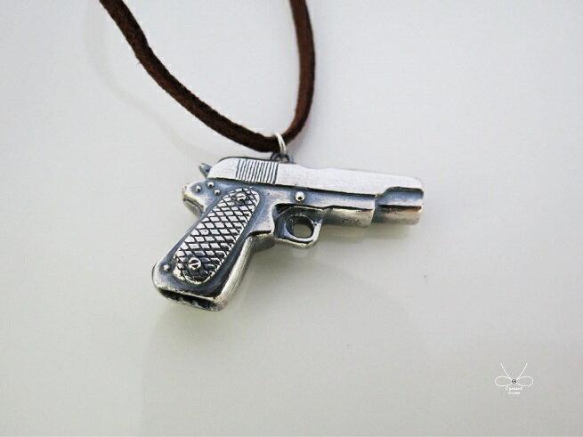 ::C%手工飾品::手槍 (925純銀項鍊 銀飾)