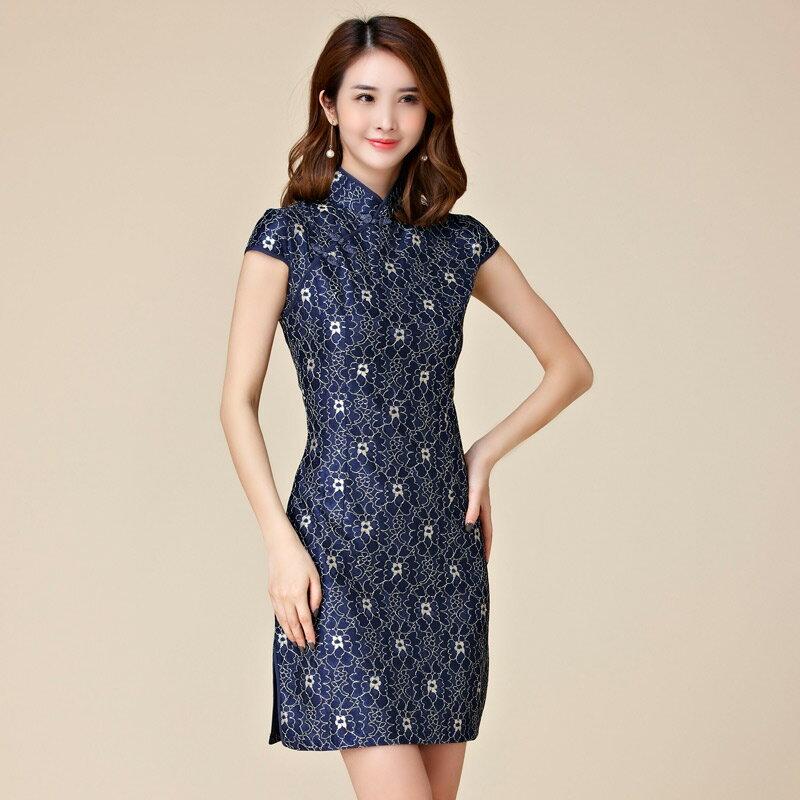 灰姑娘[9883-JK]神秘寶藍復古中國裝蕾絲短袖旗袍洋裝~禮服~