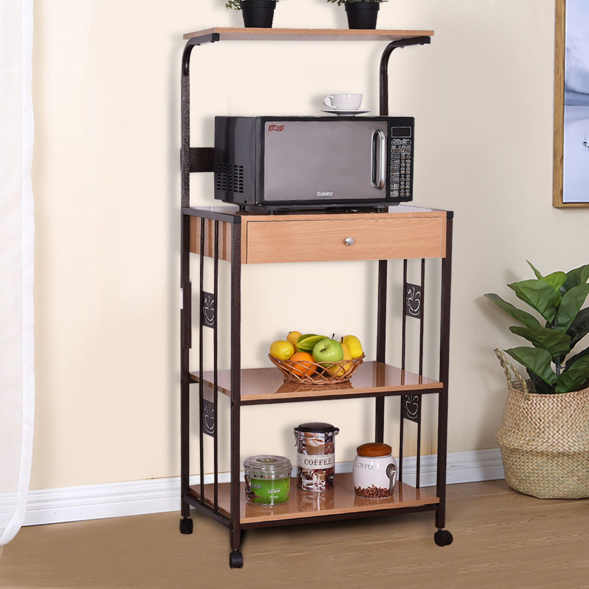 Costway 59\'\' Bakers Rack Microwave Stand Rolling Kitchen Storage Cart  w/Electric Outlet