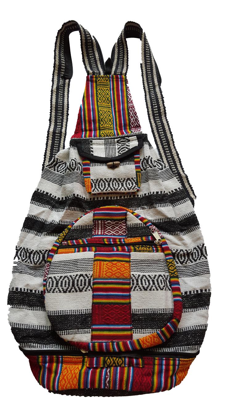 <br/><br/>  尼泊爾製  個性條紋圖案  後背包【尼泊爾 手藝坊】 Nepalese made typical Nepalese stripy designed back pack<br/><br/>