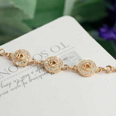 玫瑰金手鍊 鑲鑽純銀手環 ~ 精緻鏤空愛心情人節生日 女飾品2色73dl84~ ~~米蘭