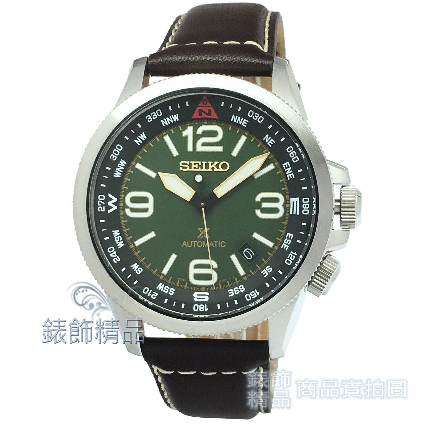 【錶飾精品】 SEIKO SRPA77K1 精工表PROSPEX系列 手自動機械錶 旋轉方位辨識 綠面咖啡色真皮錶帶