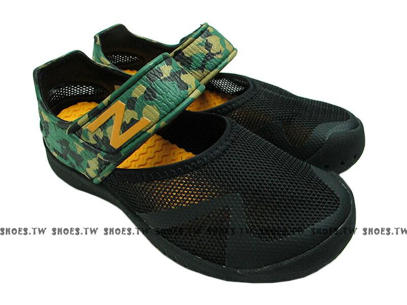 鞋殿 《下殺5折》【KA208BKY】NEW BALANCE NB208 中童鞋 涼鞋 拖鞋 童鞋 護趾 透氣 黏帶 黑綠迷彩