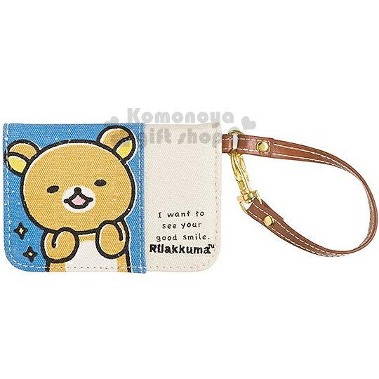 〔小禮堂〕懶懶熊 扣式帆布票卡夾《藍白.大臉》附吊繩