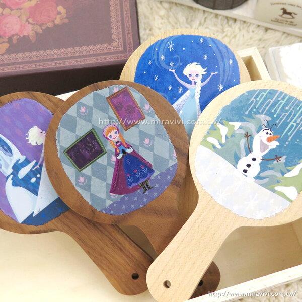 【Disney】時尚質感原木木頭手拿鏡-冰雪奇緣