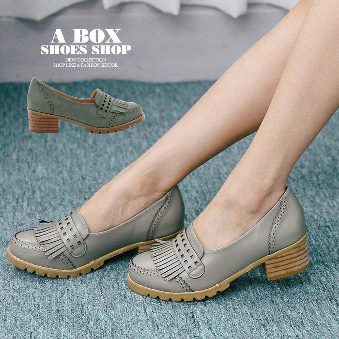 【KF339-6】韓國製造 質感透氣真皮流蘇 舒適4.5CM粗中跟牛津鞋 樂福鞋 紳士鞋 2色 0