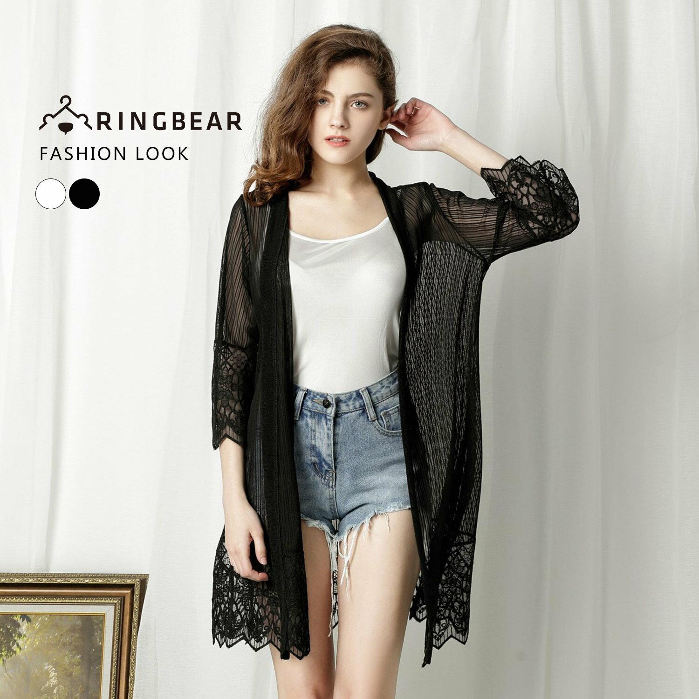 薄外套--優雅空花蕾絲時尚氣質七分短袖防曬罩衫外套(白.黑XL-4L)-J229眼圈熊中大尺碼 1