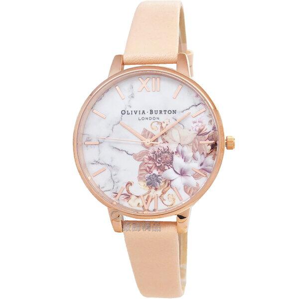OLIVIABURTONOB16CS12魔法花園玫金框膚色皮錶帶女錶38mm【錶飾精品】
