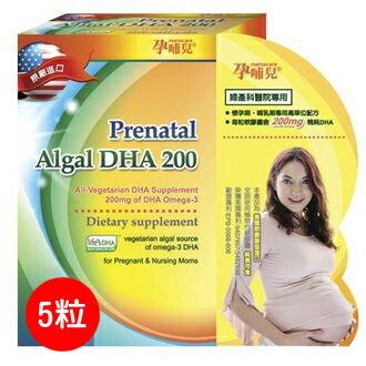 ★雙11超值特惠★孕哺兒 高單位微藻DHA軟膠囊 5粒【德芳保健藥妝】