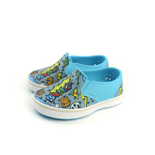 nativeMILESPRINT懶人鞋洞洞鞋灰藍圖案小童童鞋13104601-8519no723