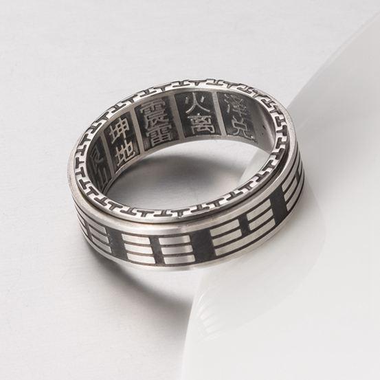 轉運戒指  中國風太極八卦轉運復古戒指男鈦鋼護身符指環潮人刻字 傾城小鋪