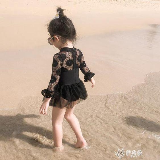 防曬長袖兒童泳衣小童寶寶泳裝女童黑色蕾絲游泳衣網紅  貼身衣物,不退不換