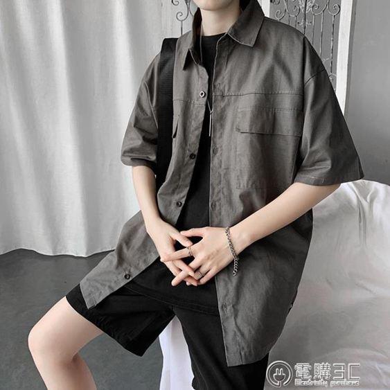 夏季學生韓版復古港風短袖襯衫男寬鬆日系工裝襯衣中袖上衣ins潮