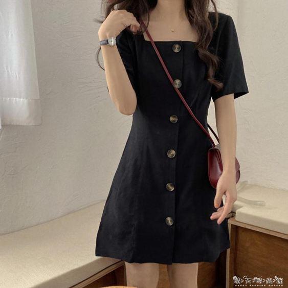 春夏新款韓版收腰顯瘦方領短袖小黑裙洋氣百搭簡約洋裝女潮