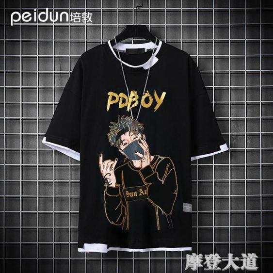 短袖T恤男印花國潮流嘻哈青年韓版男士純棉半袖寬鬆大碼衣服『摩登大道』