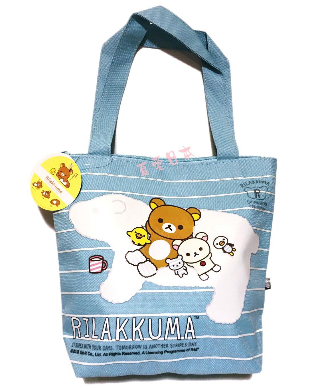 【真愛日本】16072200018拉鍊便當手提袋-北極熊   AN-X 懶熊  奶熊 拉拉熊   手提袋  收納袋