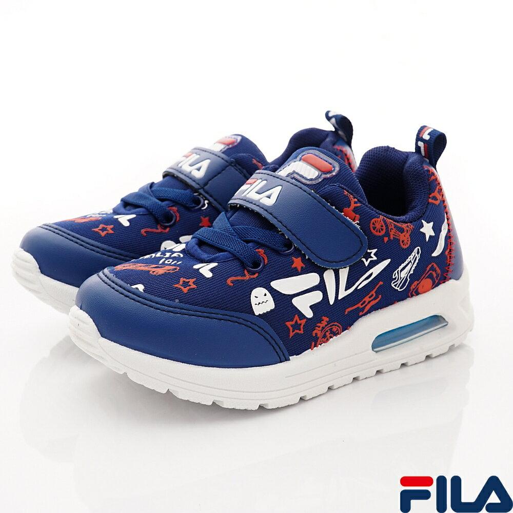 首創79折+APP領卷再享9折★FILA頂級童鞋 氣墊機能運動鞋款 2-J830U-321 藍白紅(中大童段)