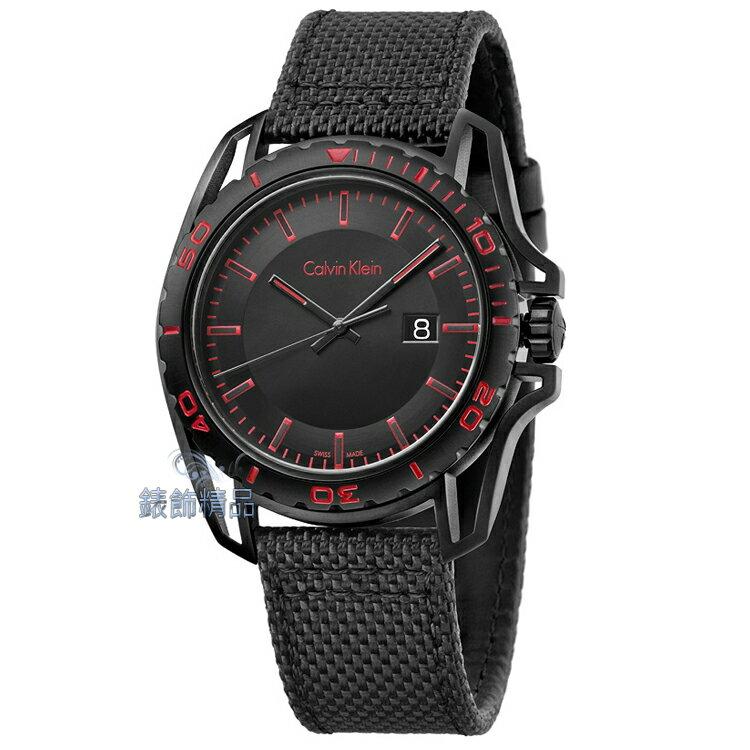 【錶飾精品】CK錶 紳士運動款 日期 黑面黑框紅時標 黑帆布皮帶男錶 K5Y31ZB1 全新原廠正品 生日情人禮物