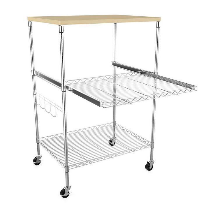 Kitchen Wire Pull-Out Shelving 3-Shelf Microwave Cart Adjustable Height with Hooks Wheel 0